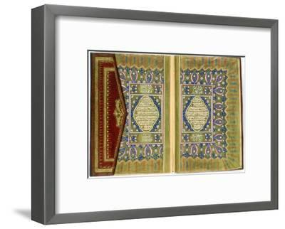 Double Page Spread from a Koran with Marginal Floral Decoration, Turkish, 1855--Framed Giclee Print