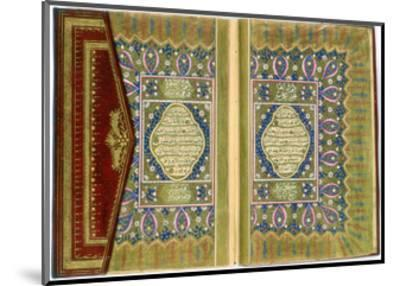 Double Page Spread from a Koran with Marginal Floral Decoration, Turkish, 1855--Mounted Giclee Print