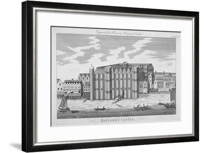 View of Baynard's Castle with Boats on the River Thames, City of London, 1775--Framed Giclee Print