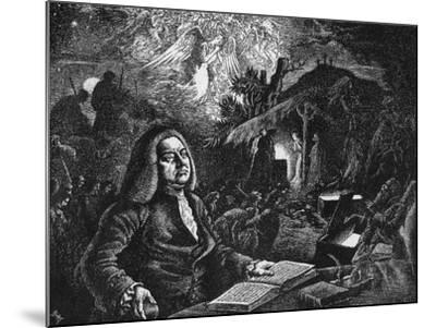 George Frideric Handel (1685-175) Composing His 'Messiah, C18th Century--Mounted Giclee Print