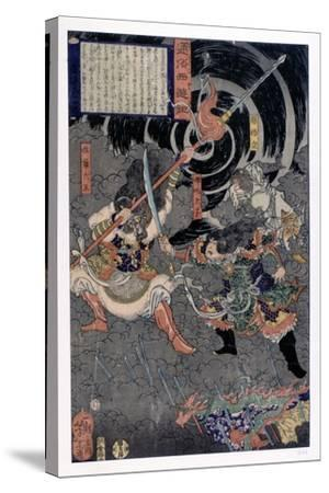 Samurai Fighting Against Monkeys, 19th Century--Stretched Canvas Print