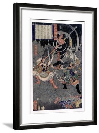 Samurai Fighting Against Monkeys, 19th Century--Framed Giclee Print