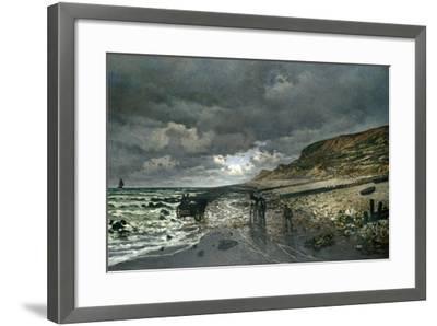 La Pointe De La Hève at Low Tide-Claude Monet-Framed Giclee Print
