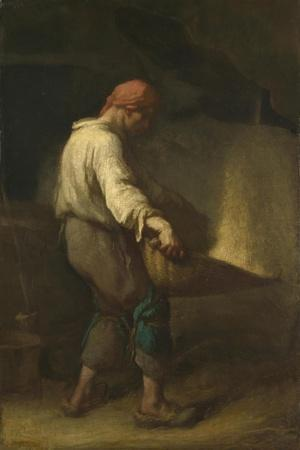 The Winnower, C. 1847-Jean-Fran?ois Millet-Stretched Canvas Print