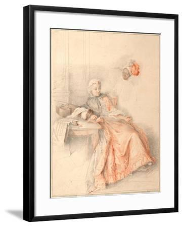 Young Lady Reading and a Page-Jacques-André Portail-Framed Giclee Print