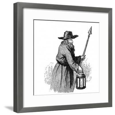 London Nightwatchman Going Through the Streets with His Pike and Lantern, 1569--Framed Giclee Print