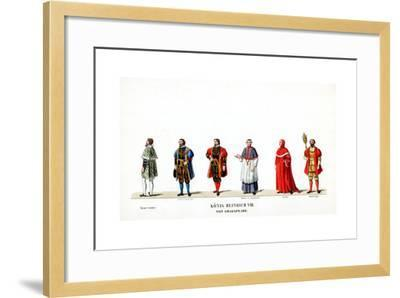Theatre Costume Designs for Shakespeare's Play, Henry VIII, 19th Century--Framed Giclee Print