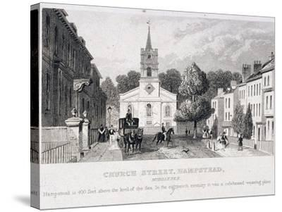 Church Street, Hampstead, London, C1840--Stretched Canvas Print