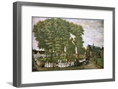 A Procession in Bruges at the End of the 19th Century,' 19th Century--Framed Giclee Print