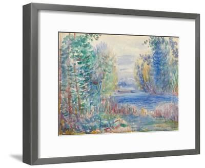 River Landscape, 1890-Pierre-Auguste Renoir-Framed Giclee Print