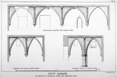 Sectional Views of St Michael's Crypt, Aldgate Street, London, C1830-J Emslie & Sons-Framed Giclee Print
