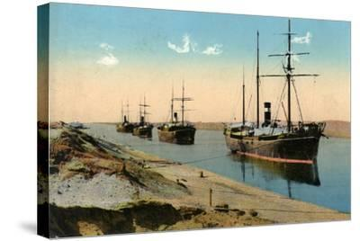 Steamers Passing Through the Suez Canal, Egypt, 20th Century--Stretched Canvas Print
