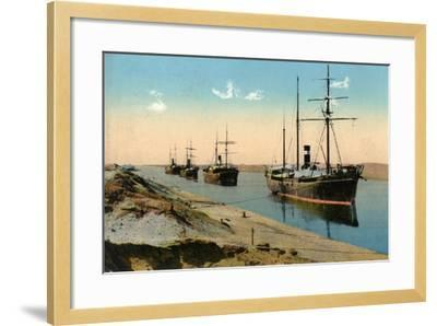 Steamers Passing Through the Suez Canal, Egypt, 20th Century--Framed Giclee Print