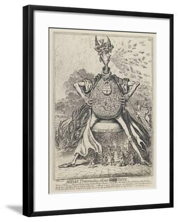 Midas, Transmuting All into Gold Paper, 1797-James Gillray-Framed Giclee Print