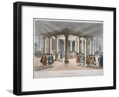Interior View of the Coal Exchange, Thames Street, City of London, 1808-Thomas Rowlandson-Framed Giclee Print