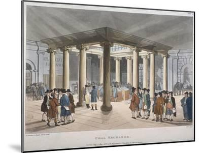Interior View of the Coal Exchange, Thames Street, City of London, 1808-Thomas Rowlandson-Mounted Giclee Print