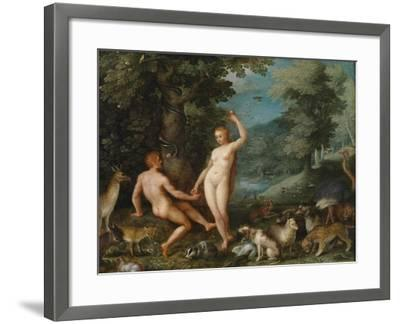 Paradise Landscape with Eve Tempting Adam-Jan Brueghel the Younger-Framed Giclee Print