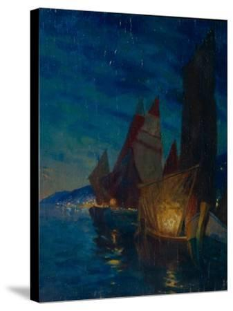 Sails at Night-Alexander Fyodorovich Gaush-Stretched Canvas Print