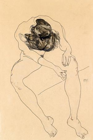 Seated Female Nude, 1912-Egon Schiele-Framed Giclee Print