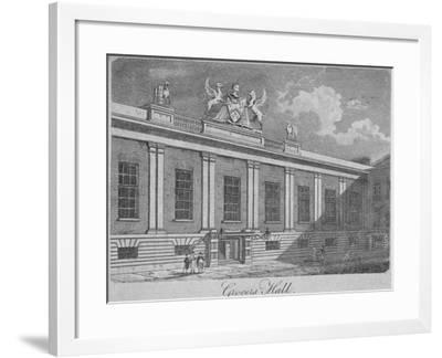 Front View of Grocers' Hall, City of London, 1812--Framed Giclee Print