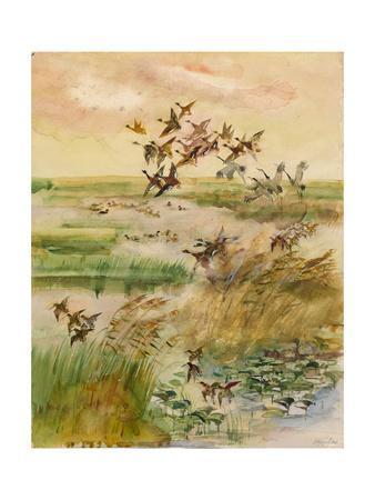 Ducks and Cranes, 1966-Valentin Ivanovich Kurdov-Framed Giclee Print