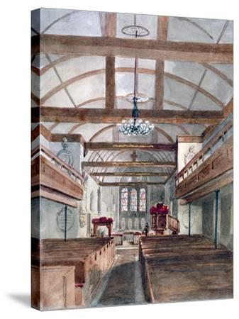 Interior View of St Pancras Old Church, London, 1853--Stretched Canvas Print