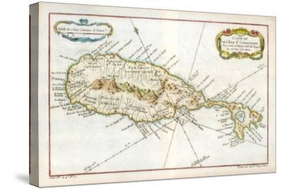 Map of the Caribbean Island of St Christopher, C1764--Stretched Canvas Print