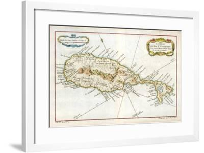 Map of the Caribbean Island of St Christopher, C1764--Framed Giclee Print