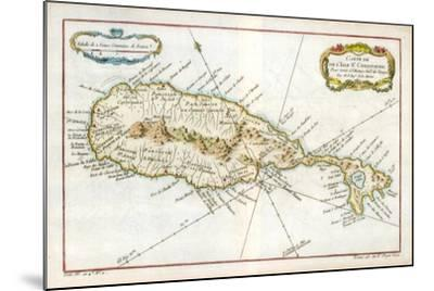 Map of the Caribbean Island of St Christopher, C1764--Mounted Giclee Print
