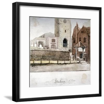View of the Church of St John at Hackney, London, C1795--Framed Giclee Print