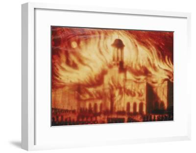 Fire at the Royal Exchange, London, 1838--Framed Giclee Print