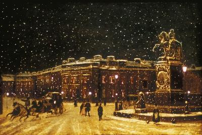 View of Snow Falling at Charing Cross at Night, C1851--Framed Giclee Print
