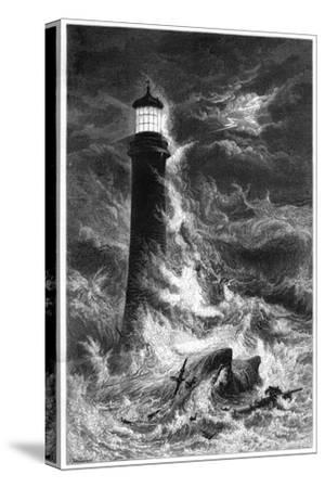 Eddystone Lighthouse, 19th Century--Stretched Canvas Print