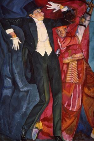 Portrait of the Stage Producer Vsevolod Meyerhold, 1916-Boris Grigor'yev-Stretched Canvas Print