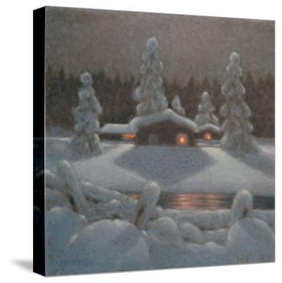 Winter Night-Bror Lindh-Stretched Canvas Print