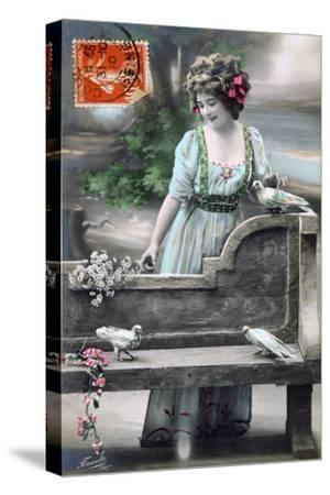 French Postcard, C1900--Stretched Canvas Print