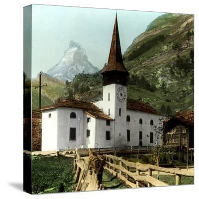 Church and Matterhorn, Zermatt, Switzerland--Stretched Canvas Print