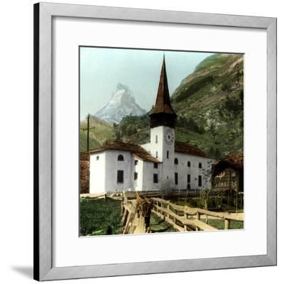 Church and Matterhorn, Zermatt, Switzerland--Framed Giclee Print