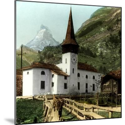 Church and Matterhorn, Zermatt, Switzerland--Mounted Giclee Print