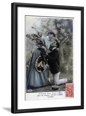 French Romantic Postcard, C1900--Framed Giclee Print