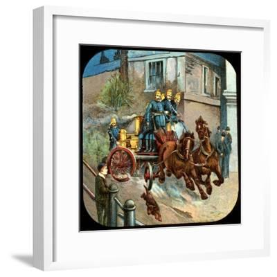 Horse-Drawn Fire Engine, C19th Century--Framed Giclee Print