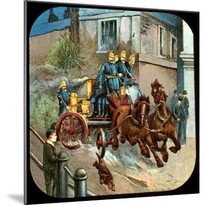 Horse-Drawn Fire Engine, C19th Century--Mounted Giclee Print