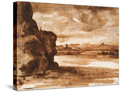 Tiber Landscape North of Rome with Dark Cloudy Sky, Between 1630 and 1640-Claude Lorraine-Stretched Canvas Print