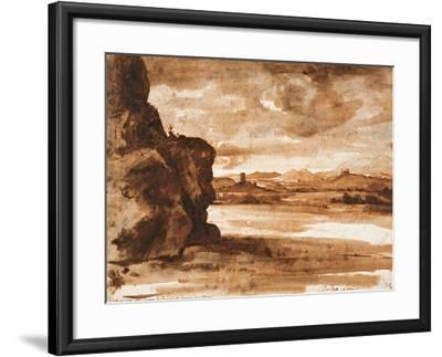 Tiber Landscape North of Rome with Dark Cloudy Sky, Between 1630 and 1640-Claude Lorraine-Framed Giclee Print