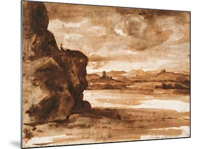 Tiber Landscape North of Rome with Dark Cloudy Sky, Between 1630 and 1640-Claude Lorraine-Mounted Giclee Print