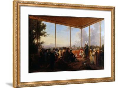 Audience Given in Constantinople by the Grand Vizier Aimali Carac for Francois-Emmanuel Guignard-Francesco Giuseppe Casanova-Framed Giclee Print