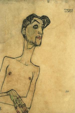Mime Van Osen, 1910-Egon Schiele-Stretched Canvas Print