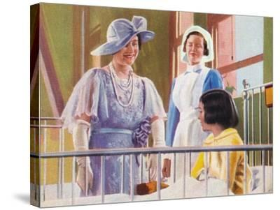 Queen Elizabeth Visiting a Children's Ward at the Middlesex Hospital, 1935--Stretched Canvas Print