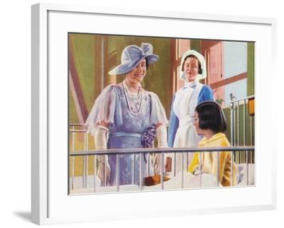 Queen Elizabeth Visiting a Children's Ward at the Middlesex Hospital, 1935--Framed Giclee Print