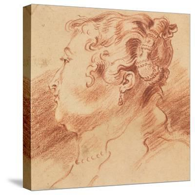 Study of Woman's Head, C. 1725-Jean Antoine Watteau-Stretched Canvas Print